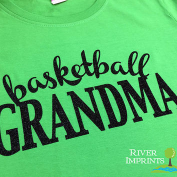 BASKETBALL GRANDMA cursive, sparkly glitter t-shirt with your choice of color-- fitted, regular, or long sleeve