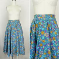 Vintage 1960s Blue Cotton Floral Skirt