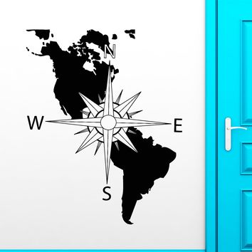 Vinyl Wall Decal Navigation Compass America Continent Map Stickers Unique Gift (1894ig)