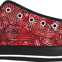 Red and black swirls doodles Black Low Tops