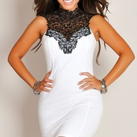 Sexy Coveted White with Black Standing Lace Collar Dress