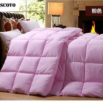 White goose down comforter pink feather quilt king size duvet insert queen winter quilt full