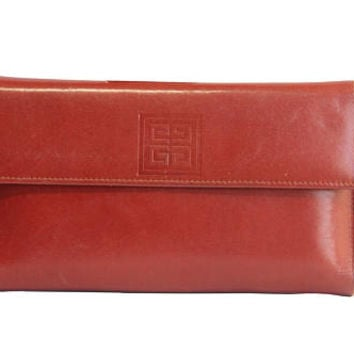 Beautiful Vintage 80s Givenchy Designer Brown Leather Wallet | Retro 1980s Clutch Purse Women's Accessory Genuine Authentic