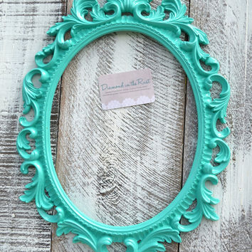 ornate oval aqua turquoise frame baby room decor wedding accessory baroque frame photo prop open frame