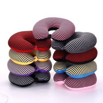 Stripe U Shaped Neck Pillow Transfer Printing Travel Pillows With Button Foam Body Pillow Decorative Office Pillow Texties