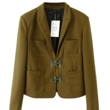 Pure Color Knot Button Casual Blazer