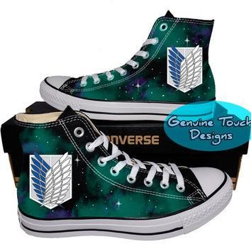 Custom Converse, Attack on titan, Galaxy shoes, Anime shoes, Custom chucks, painted sh