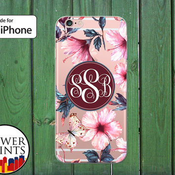 Monogram Flower Pattern Orchid Butterfly Cute Custom Tumblr Clear Case iPhone 5/5s and 5c iPhone 6 and 6 Plus iPhone 6s iPhone SE iPhone 7