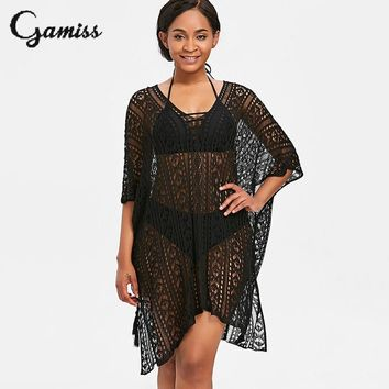 Gamiss Sexy V Neck Asymmetric Knitted Cover Up Women Mesh Swimsuit Cover Up Summer Beach Wear Beach Dress Swimming Wear Tunic