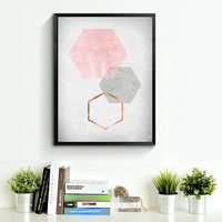 Blush Print, Blush Wall Art, Blush Poster, Copper Print, Copper Scandinavian Print, Blush Home Decor, old paper texture, Hexagon Art *193*