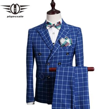 Double Breasted Suit Men Slim Fit Wedding Suits For Men Royal Blue Tuxedo Jacket Famous Plaid Suits