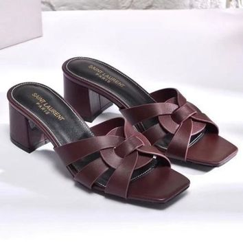 YSL Yves Saint laurent Women Fashion Casual Low Heeled Shoes Slipper Shoes-2