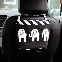 Car Headrest Caddy ~ Black Elephant ~ Black Chevron Band
