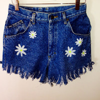 High waisted fringe jean shorts with dandelions coachella