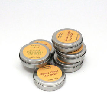 Organic Peppermint Cocoa and Honey Cocoa Lip Balm Set, Stocking Stuffer, Holiday Gifts