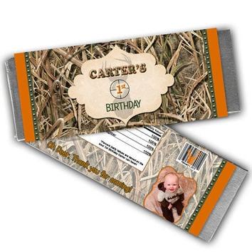 Boys Camo Birthday Party Favors - Hunting Candy Wrapper  - Camouflage Candy Buffet - Photo Party Favors - Camo Party Ideas - Candy Bar Wrap