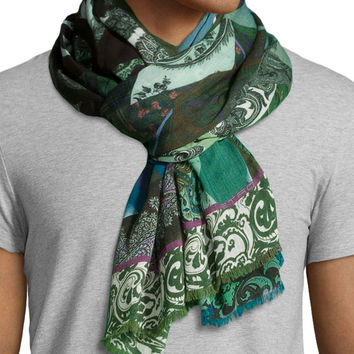 Swirl-Print Voile Scarf, Blue/Green, Size: 30, BLUE/GREEN - Etro