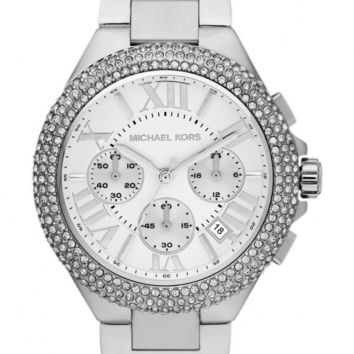 Michael Kors Ladies Camille Chronograph Watch Stainless Steel Silver Dial MK5634