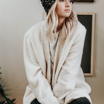 Cozy Casual Teddy Bear Coat (Ivory)