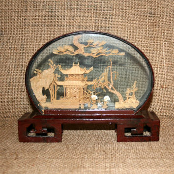 50s Asian Cork Art Shelf Art Asian Home Decor San You 3D Art Ethnic Art Diorama Shadow Box Asian Sculpture Carved Sculpture Collectible Art