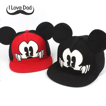 2017 Hot Mickey ear hats children snapback Caps baseball Cap with ears Funny Hats spring summer Autumn hip hop boy hats caps