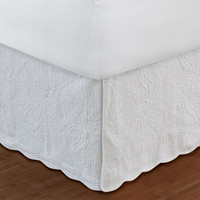 "Greenland Home Fashions Accessories Collection Paisley White Color Full Bed Skirt 18"", Quiltedd"