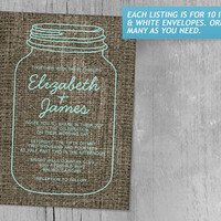 Aqua Rustic Burlap Mason Jar Wedding Invitations | Invites | Invitation Cards
