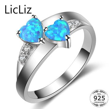 LicLiz 925 Sterling Silver Heart Rings For Women Two Stone Blue Opal Ring CZ Pave Eternity Ring Couple Wedding Band Anel CLR0373
