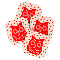 Garima Dhawan Vintage Red Owl Coaster Set
