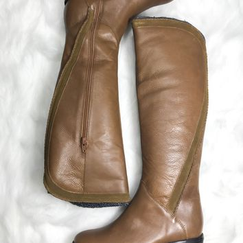 NAUGHTY MONKEY Tan Genuine Leather & Suede Riding Boots