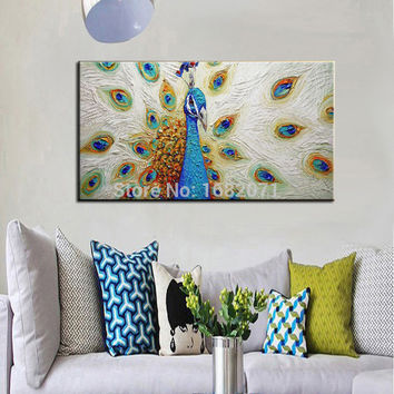 Famous Artist Handmade Animals Oil Paintings High Quality Unique Beautiful Peacock Hang Craft Oil On Canvas For Wall Decoration