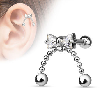 Bow Cartilage Tragus Helix Earring 16ga 316L Surgical Steel Upper Ear Helix Body Piercing Jewelry