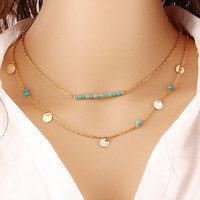 Cute Multi-Layered Bohemian Boho Turquoise Pendant Necklace