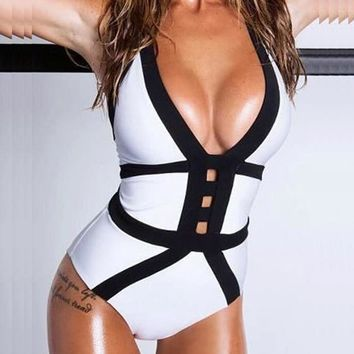 Fashion Style Sexy Monokini Swimsuit One Piece Swimwear Fashion Bandage Bodysuit Backless Thong Bottom Bathing Suits 2016 new