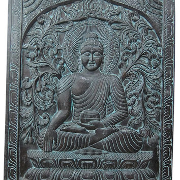 Indian Budha Decor- Hand Carved Earth Touching Buddha Door Wall Hanging