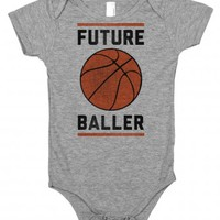 future baller-Unisex Heather Grey Baby Onesuit 00