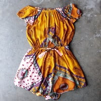 reverse - strapless off the shoulder boho print romper in yellow
