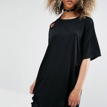 Milk It Vintage Oversized Distressed T-Shirt Dress With Open Back at asos.com