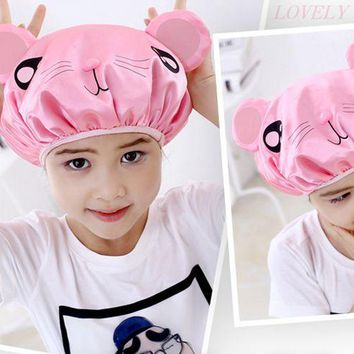 Various Colors Animal Styles Double Layer style shower caps waterproof shower cap cute cartoon bathroom caps for children H411