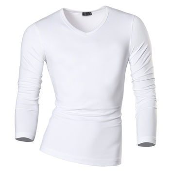 New Arrival Autumn and Winter Men Designer V-Neck T Shirt Casual Slim Fit Thermal Shirts Tops & Tees