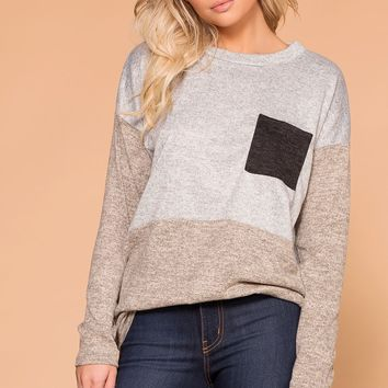 Pru Taupe Colorblock Pocket Top