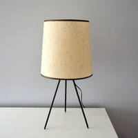 Vintage Tripod Lamp, 1960s Table Lighting, Mid Century Modern Home Decor, Made in Japan, Black Legs with Cream Linen Shade, Desk Light