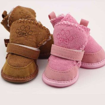 Suede Dog Shoes With Velcro Strap