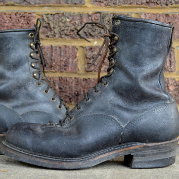 Vintage Black Leather 60's Sears Logger Work Boots Men's 9E