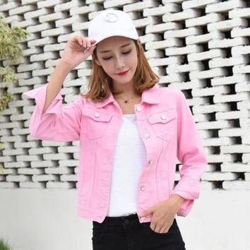 Red White Pink Denim Jacket Female Slim Basic Coat Spring Autumn Womens Jeans Jacket Jaqueta Fashion Ladies Coat Classic