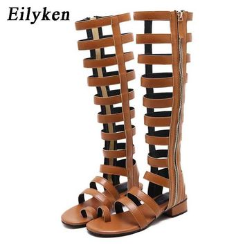 Eilyken Summer Gladiator Women Sandals Open Toe Knee High Sandals Boots Zipper Flat Casual Sandals size 35-40