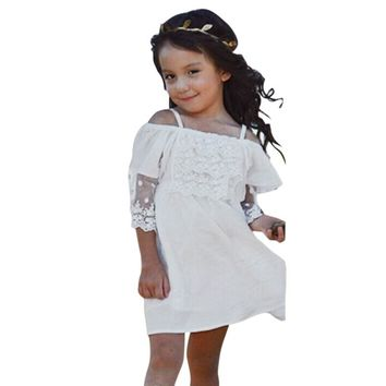 Baby Child Girls Lace+Cotton Lace Off-shoulder Dress Kids Shoulderless Party Wedding Pageant Formal Dress 2-7Y