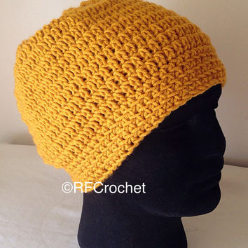 Men's Large Beanie | Dark Gold | Skullcap | Fits at Hairline | Unisex | Adult | Men's Hat | Free USA Shipping