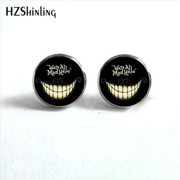 NES-0017  We're all Mad Here Ear Studs Cheshire  Jewelry Glass Cabochon Earrings Alice in Wonderland Stud Earrings HZ4