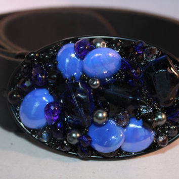 Cobalt Blue Bling Belt Buckle - Beaded Belt Buckle